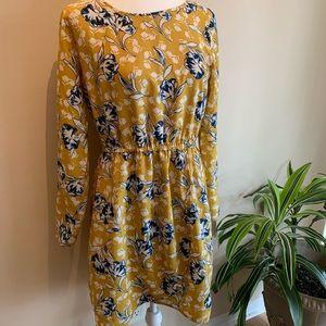 J. Crew Yellow Floral Print Long Sleeve Dress
